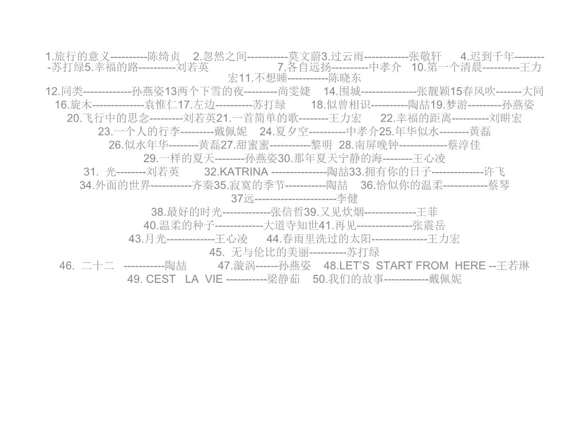 王菲 旋木五线谱