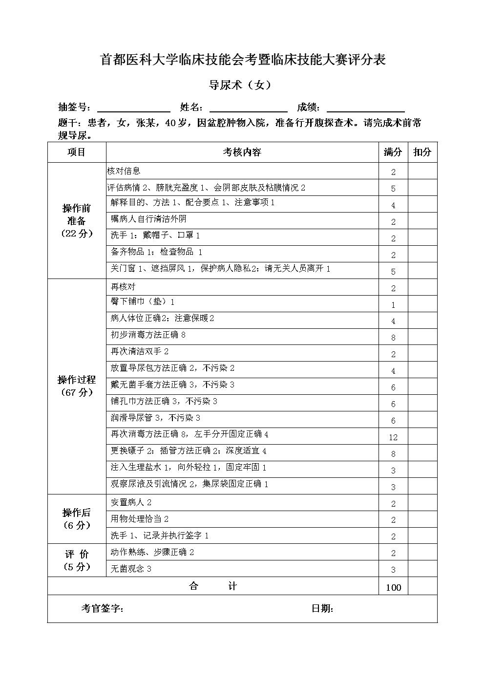 临床技能大赛评分表37.导尿术-女.doc图片