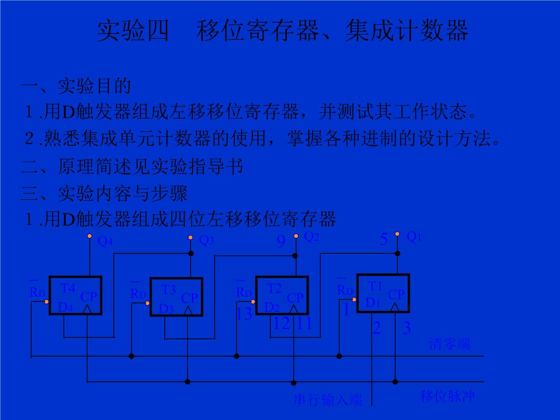 """用d触发器组成四位左移移位寄存器(1)清零:将清零端接逻辑开关置""""0""""即"""