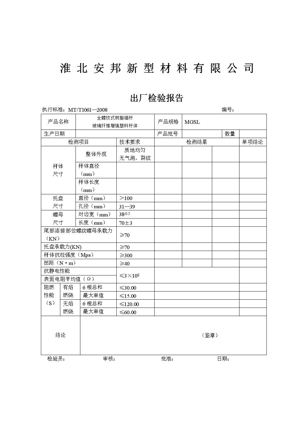 玻璃钢锚杆出厂检验报告word 文档1.doc