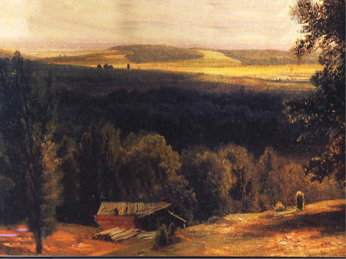 美国黎明风景油画