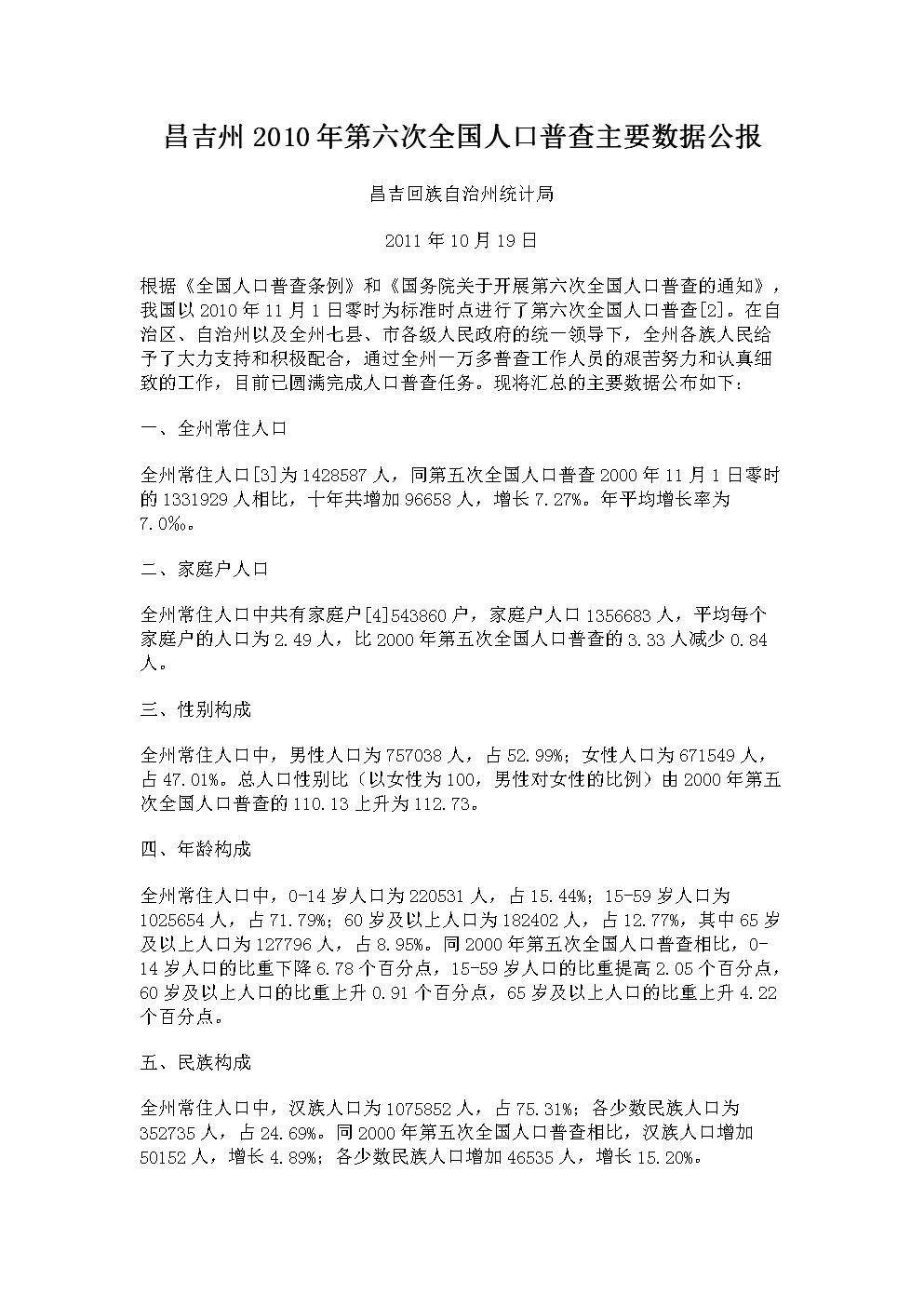 昌吉学院_2011年昌吉总人口数