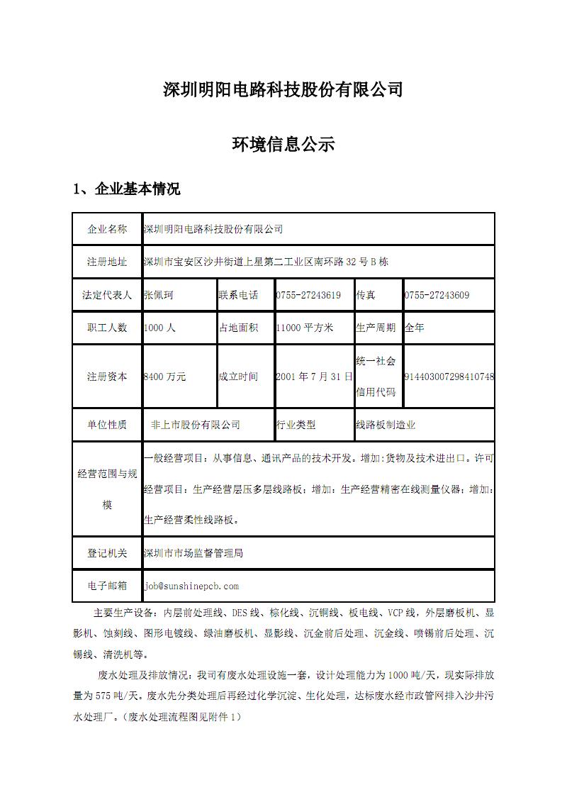 深圳明阳电路科技股份有限公司环境信息公示.pdf