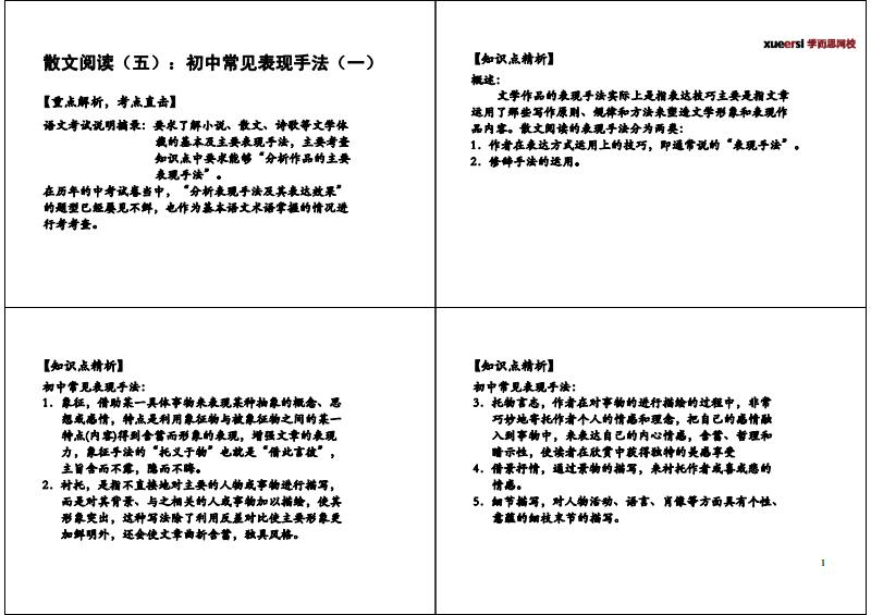 初中表现(五):初中常见阅读手法(一)【知识点精画平面设计散文图片
