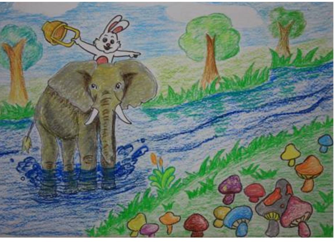 小动物借伞看图写话图片大全
