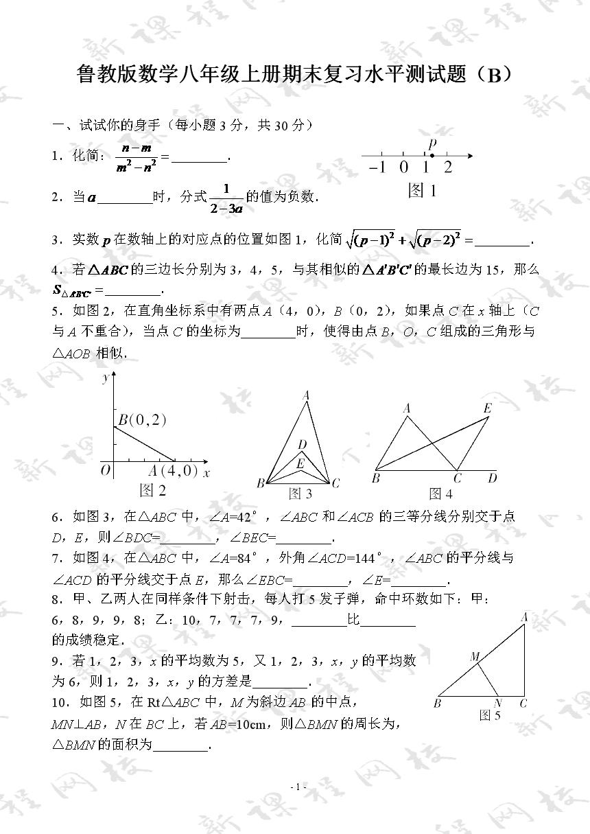鲁教版数学八年级上册期末复习水平测试题(B)
