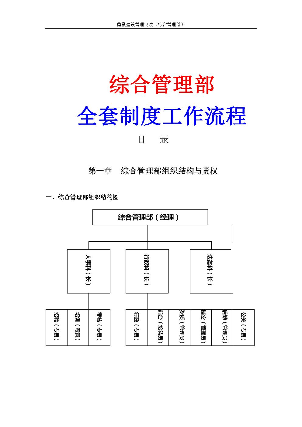 建筑工程公司综合管理部全套管理工作流程要点