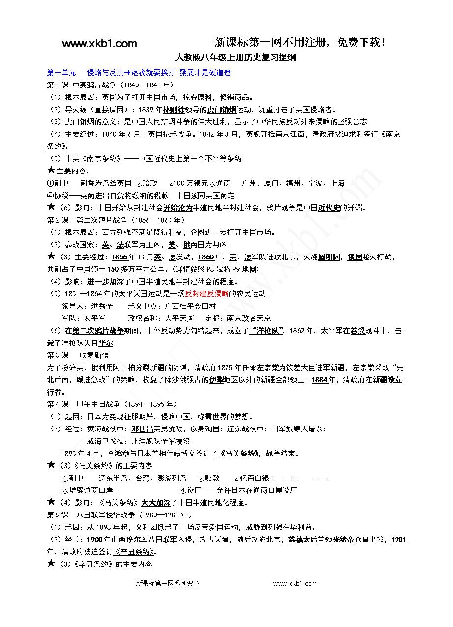 2014年人教版八年级上册历史期中复习提纲.d
